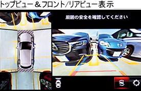 CX-8の360度ビューモニターのトップビュー&フロント、リヤビュー表示