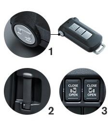 デイズルークスのオートスライドドアはインテリジェントキー、インサイドドアハンドル、運転席スイッチから操作可能。
